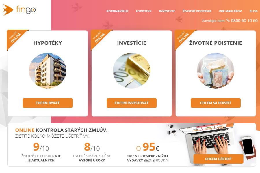 FINGO moderný fintech porovnávací portál finančných produktov