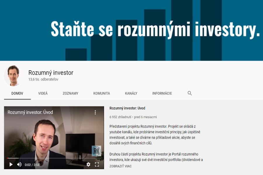 ROZUMNÝ INVESTOR youtube kanál plných užitočných analýz akcií